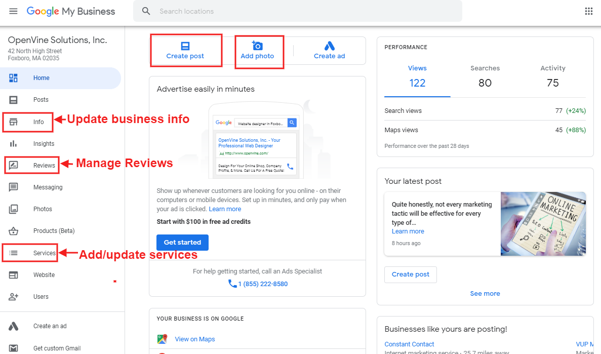 Google My Business listing management