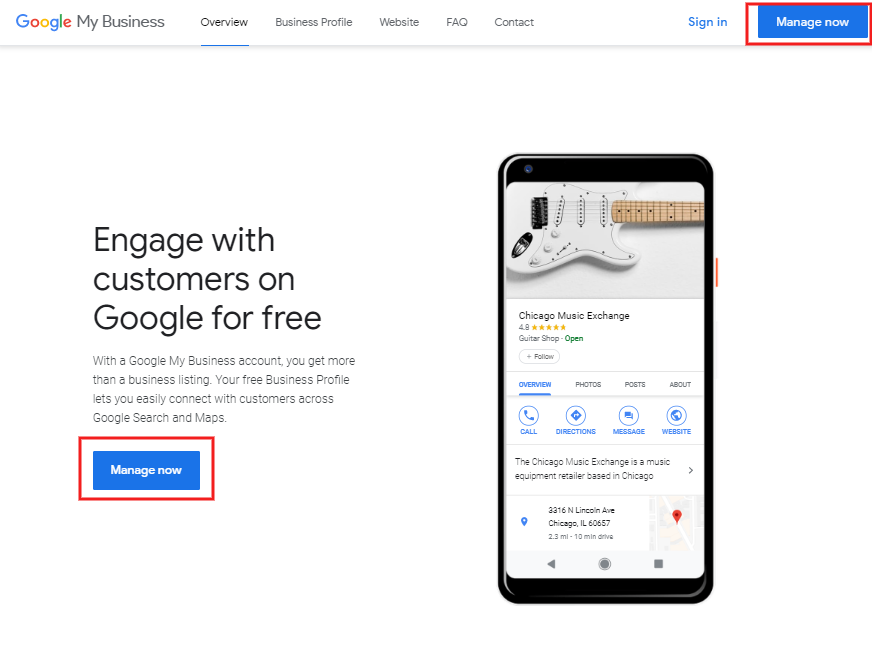 Setting up Google My Business account